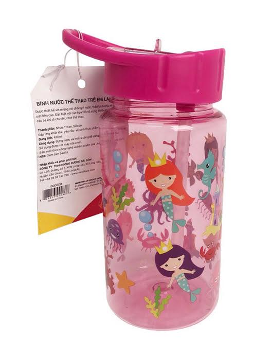 Bình nước uống thể thao trẻ em La Fonte 430ml màu hồng - 000808