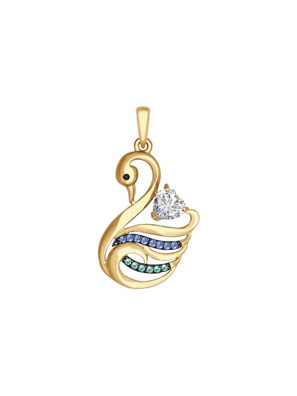 Mặt dây chuyền vàng thiên nga đính kim cương zirconia màu xanh - 035040
