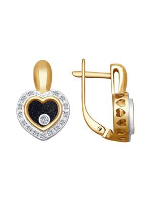 Bông tai vàng Sokolov đính kim cương và saphir - 1021169No1890