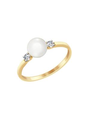 Nhẫn vàng đính ngọc trai và đá zirconia 791053