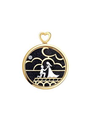 Mặt dây chuyền vàng với đá aventurine và kim cương 1030600No1743