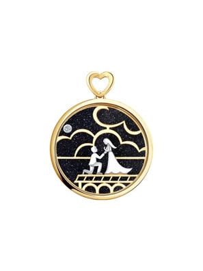 Mặt dây chuyền vàng với đá aventurine và kim cương 1030600No185