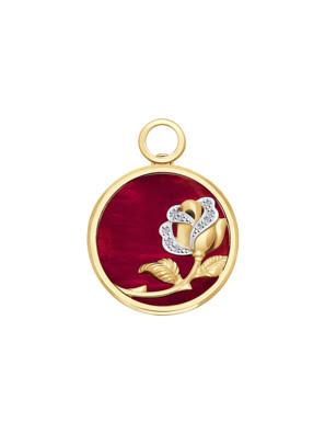 Mặt dây chuyền vàng đính kim cương và xà cừ đỏ 1030630No1884