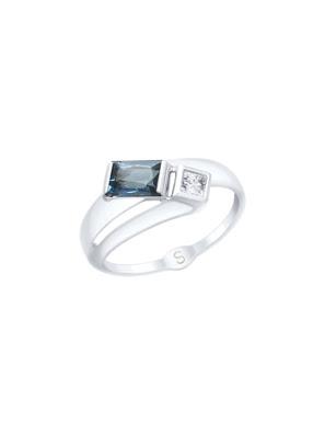 Nhẫn vàng trắng với đá topaz xanh và Swarovski Zirconia 715054