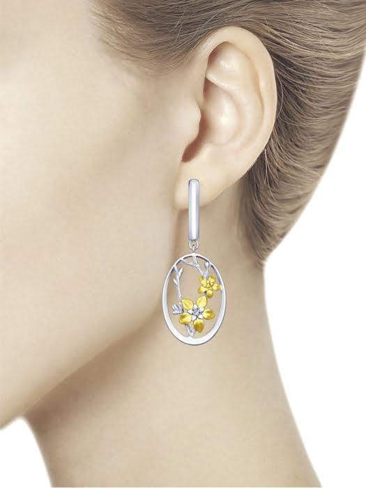 Bông tai Sokolov bạc mạ vàng đính kim cương zirconia - 94022775