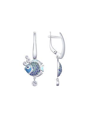 Bông tai Sokolov bạc hình con cá có đính men và kim cương zircona - 94022810