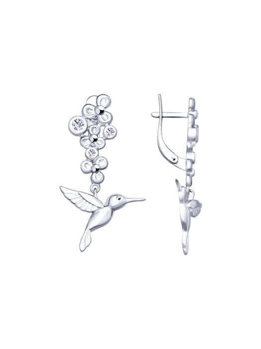 Bông tai Sokolov bạc Hummingbird đính kim cương Zirconia - 4022863