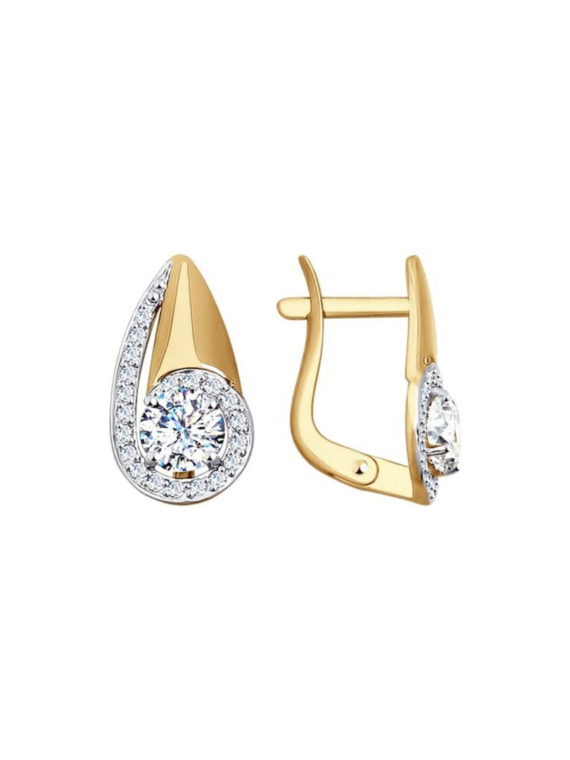 Bông tai Sokolov bằng vàng đính kim cương zirconia - 027604