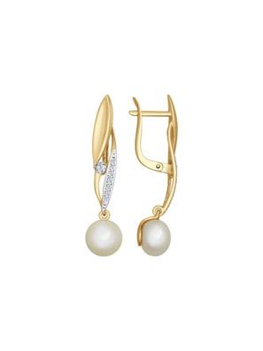 Picture of Bông tai vàng đính ngọc trai và kim cương zirconia - 792014