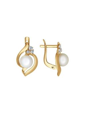 Bông tai vàng đính ngọc trai và kim cương zirconia - 792039