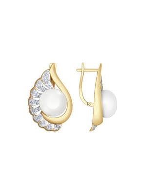 Bông tai vàng đính ngọc trai và kim cương zirconia - 792062