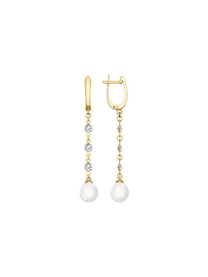 Bông tai vàng đính ngọc trai và kim cương zirconia - 792072