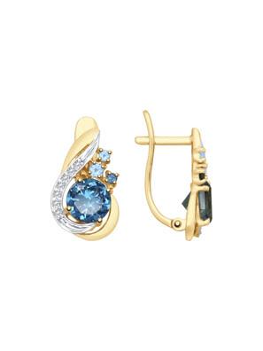 Bông tai vàng đính hoàng ngọc, hoàng ngọc London và kim cương zirconia - 725390