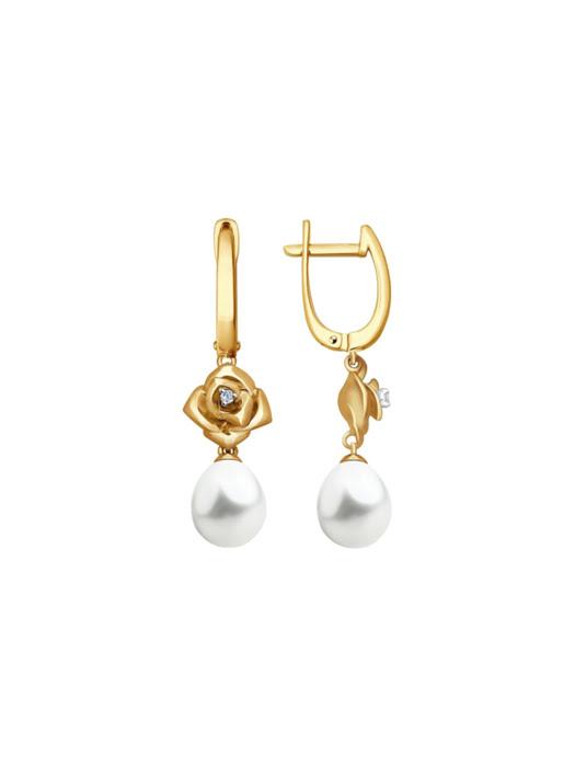 Bông tai dài bằng vàng đính ngọc trai và kim cương - 8020068NO1814