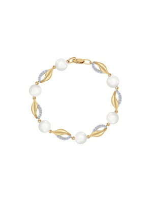 Vòng đeo tay vàng đính ngọc trai và kim cương zirconia - 795018