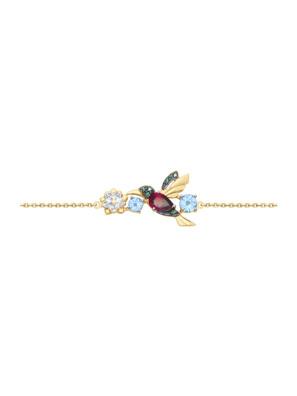 Vòng đeo tay vàng đính đá hoàng ngọc, rhodolite và kim cương zirconia - 750284