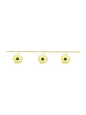 Vòng tay hoa cúc bằng bạc mạ vàng - 93050102