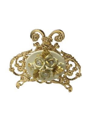 Kệ đựng giấy ăn Cevik Cream Roses trang trí hoa hồng mạ vàng đính kim cương Swarovski