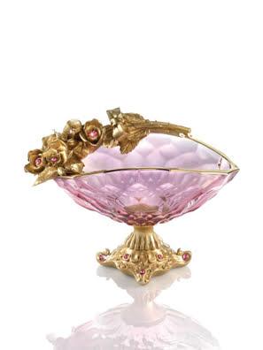 Khay Cevik hồng đính kim cương Swarovski gắn hoa hồng phủ vàng 24K