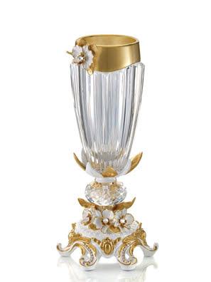 Bình hoa Cevik gắn hoa phong lan phủ vàng 24K kim cương Swarovski