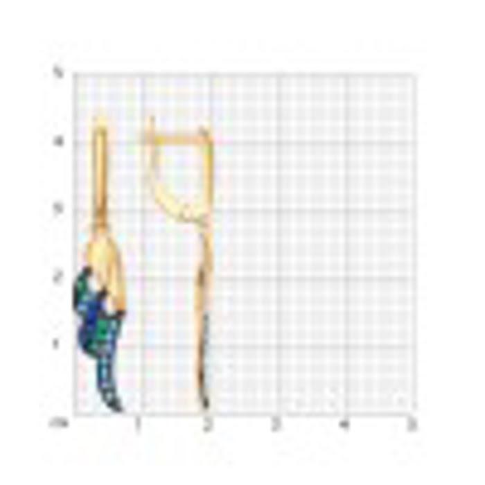 Bông tai dài bằng vàng 585 đính kim cương zirconia màu xanh - 027280