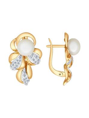 Picture of Bông tai vàng đính ngọc trai và kim cương zirconia - 792034