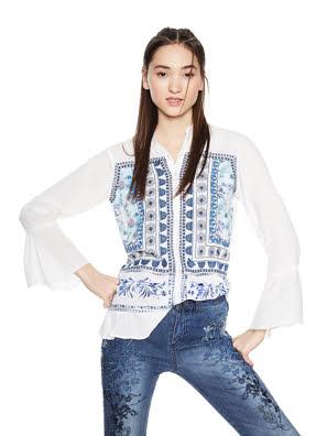 Áo dài tay nữ Desigual BLOUSE BLANCO size L - 18SWBW871000L