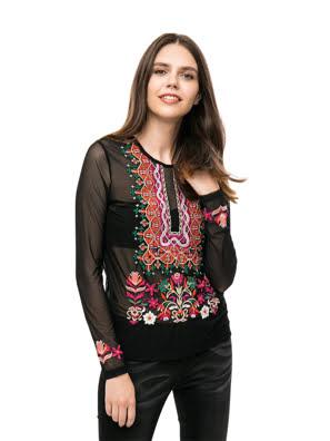Áo thun dài tay nữ T-SHIRT Size XS NEGRO - 17WWTK692000XS