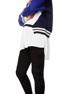 Quần legging nữ lưng quần cao Desigual HOSIERY NEGRO - 17WWKK082000