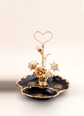 Khay Centrepiece màu xanh đen với tay cầm có hoa mạ vàng 26cm BC - 411.BLEU-D-BRANCH