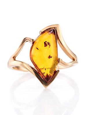 Nhẫn trang sức Amber Jewelry bạc 22K đính đá phổ phách thiên nhiên màu cognac (Amber vesta 20) phủ vàng - 710006112