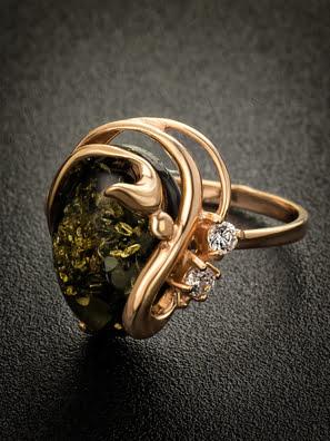 Nhẫn trang sức Amber Jewelry bạc 22K đính đá phổ phách (Melissa 20) kim cương nhân tạo Fianit - 710010063