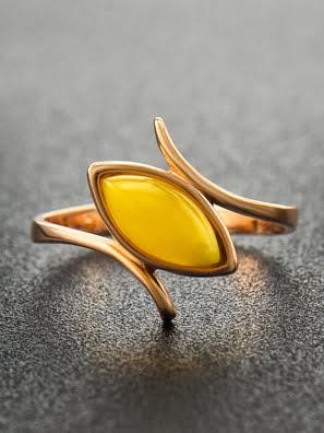 Picture of Nhẫn trang sức Amber Jewelry bạc 22K đính đá hổ phách thiên nhiên màu xanh lá (Adagio 16) phủ vàng - 710006092