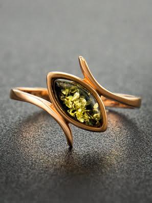 Picture of Nhẫn trang sức Amber Jewelry bạc 22K đính đá hổ phách thiên nhiên (Adagio 16.5) phủ vàng - 710006093