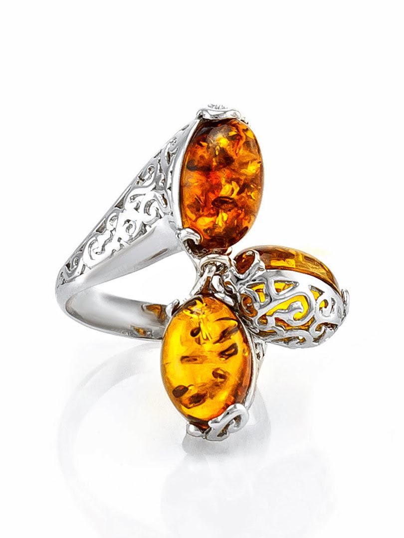Nhẫn trang sức Amber Jewelry bằng bạc 22K đính đá hổ phách màu cognac (Casablanca 15.5) phủ kim loại Rhodium - 606308098