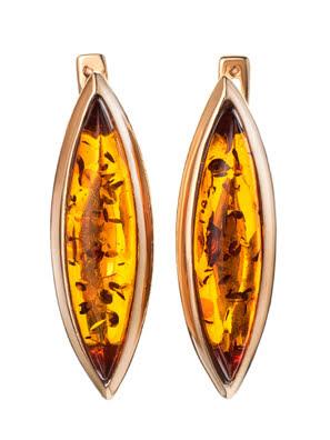 Bông tai trang sức Amber Jewelry bạc 22K đính đá hổ phách thiên nhiên (Grace) phủ vàng - 710111049