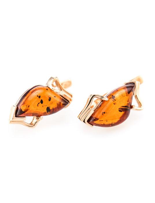 Bông tai trang sức Amber Jewelry bằng bạc 22K đính đá hổ phách thiên nhiên (Vesta) phủ vàng - 710109356
