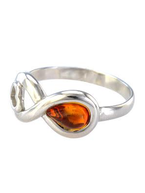 Nhẫn trang sức AMBERHOLL bằng bạc 22K đính đá hổ phách màu cognac (Amur) phủ kim loại Rhodium - 606308133