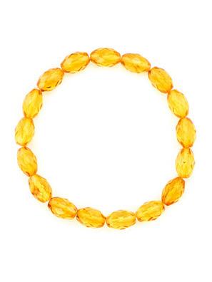 Vòng đeo tay trang sức Amber Jewelry bằng đá hổ phách thiên nhiên màu chanh (Olive diamond) - 6040204331