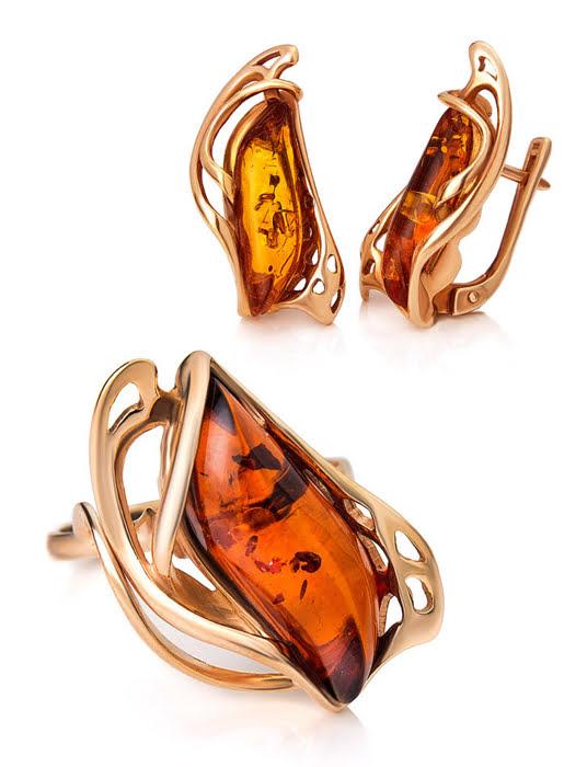 Bông tai trang sức Amber Jewelry bạc 22K đính đá hổ phách màu cognac (illusion) phủ vàng - 710110031