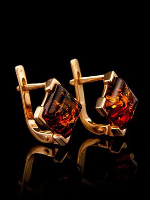 Bông tai trang sức Amber Jewelry bạc 22K đính đá hổ phách thiên nhiên màu cognac (Artemis) phủ vàng - 710106040
