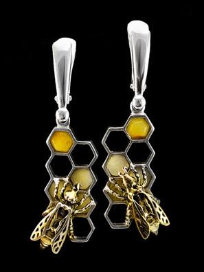 Bông tai trang sức Amber Jewelry bạc 22k đính đá hổ phách thiên nhiên (Winnie the pooh) phủ vàng - 706502139