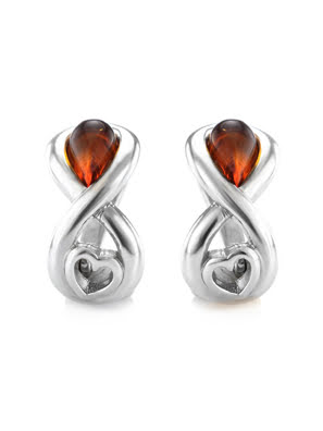 Bông tai trang sức Amber Jewelry bạc 22K đính đá hổ phách màu cognac (Amur) phủ kim loại Rhodium - 606508126