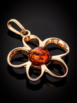 Mặt dây chuyền Amber Jewelry trang sức bạc 22K đính đá hổ phách thiên nhiên màu cognac (Daisy) phủ vàng - 710209350