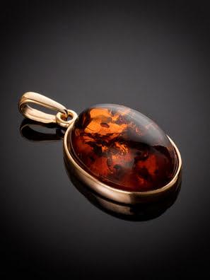 Mặt dây chuyền Amber Jewelry trang sức bằng bạc 22K đính đá hổ phách (Goji large) phủ vàng - 710211071