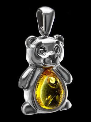 Mặt dây chuyền Amber Jewelry trang sức bạc 22K đính đá hổ phách thiên nhiên màu chanh (Kotopez bear cup) - 701707133