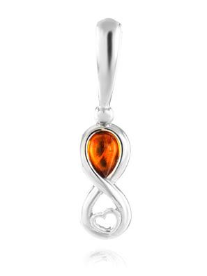 Mặt dây chuyền Amber Jewelry trang sức bằng bạc 22K (925) đính đá hổ phách thiên nhiên màu cognac (Bery) mạ Rhodium - 601708131