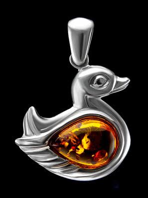 Mặt dây chuyền Amber Jewelry trang sức bạc 22K đính đá hổ phách thiên nhiên màu cognac (Cupid) mạ Rhodium - 701707138