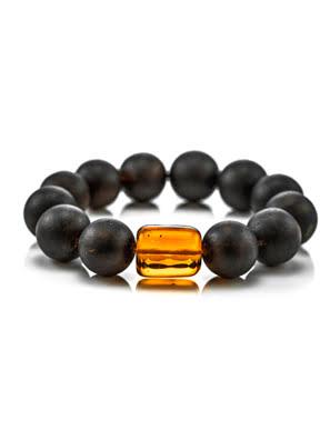 Vòng đeo tay trang sức Amber Jewelry bằng đá hổ phách màu đen và màu cognac (Cuba) - 604612080