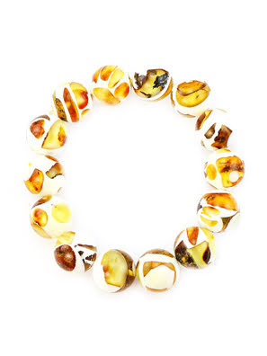 Vòng đeo tay trang sức Amber Jewelry bằng đá hổ phách màu trắng (Dalmatian) - 5046208183